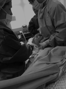Black and White picture of c-section birth