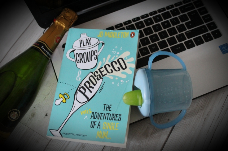 Playgroups and Prosecco book on laptop with bottle and sippy cup