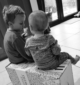 Black and White picture of two bothers sat on a box looking away from the camera